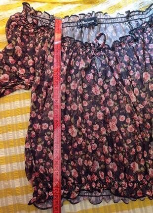 Трендовый топ блуза цветочный принт3 фото