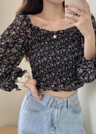Трендовый топ блуза цветочный принт
