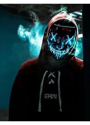 Новинка! маска анонимуса судная ночь неоновая синяя
