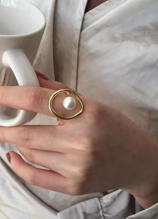 Стильное кольцо с жемчугом абстрактное кольцо
