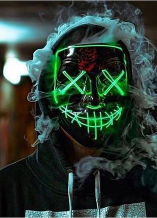Маска анонимус гай фокс судная ночь светящаяся зеленая