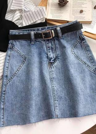 Джинсовые юбки с ремнем