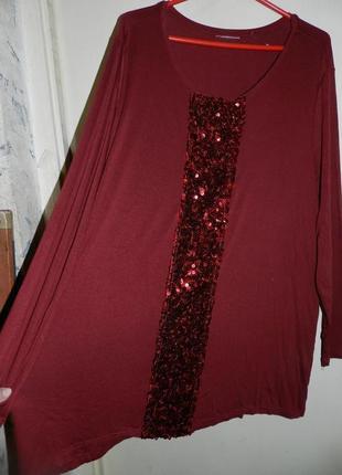 Трикотажная блузка с пайетками, большой размер