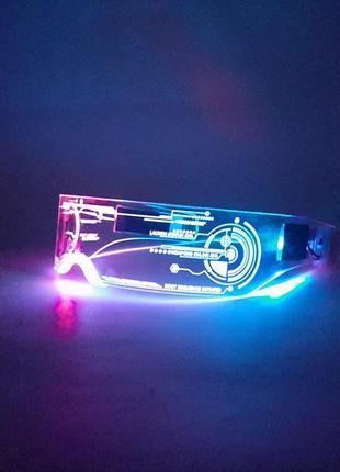 Светящиеся очки неоновые очки киберпанк led очки