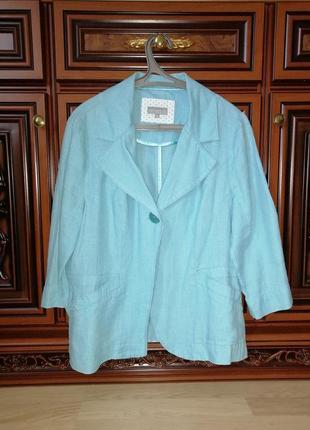 Пиджак летний 100% лен, бирюзовый