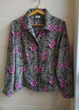 Рубашка винтаж в цветочный принт с длинным рукавом большого размера