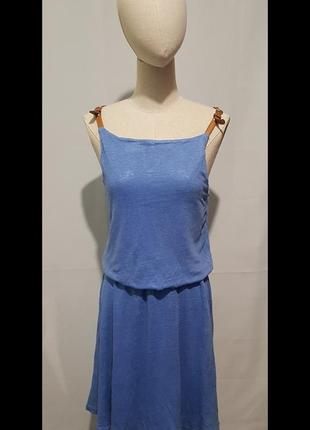 Платье летнее лен на бретельках  из кожи.