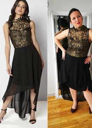 Скидка шикарное вечернее платье со шлейфом club l от asos 48-50