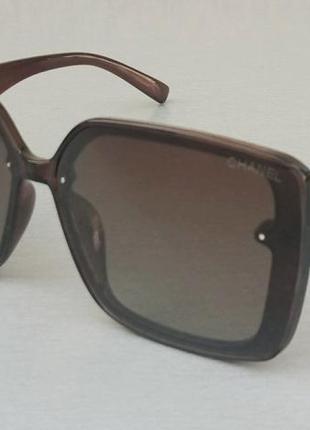 Chanel стильные большие женские солнцезащитные очки коричневые с градиентом поляризированые
