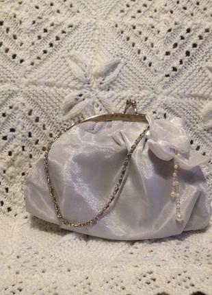 Сумка сумочка вечерняя свадебная нарядная 14 х 20 см на цепочке новая