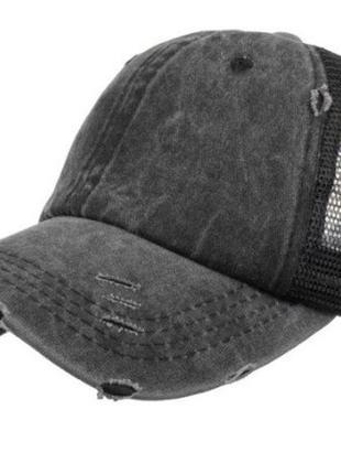 Модель №449 кепка женская с сеткой. бейсболка с вырезом под хвостик.