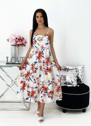 Платье ниже колена миди. летний сарафан