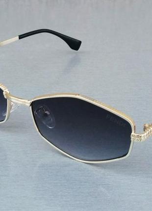 Fendi стильные солнцезащитные очки унисекс узкие шестигранник черный градиент в золотом металле
