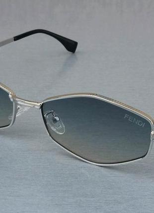 Fendi стильные солнцезащитные очки унисекс узкие шестигранник серо синий градиент в серебристом металле