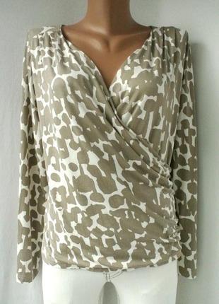 Брендовая вискозная блузка artigiano на запах большого размера. размер uk20eur48.