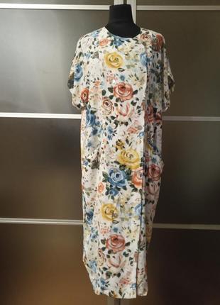 Винтажное натуральное платье в цветочный принт