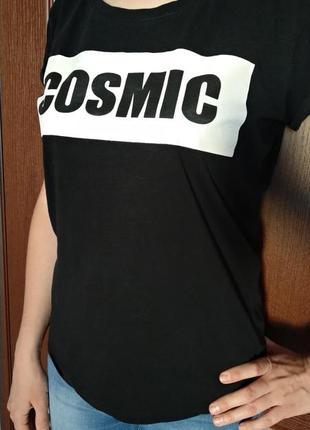 Коттонова чорна футболка cosmic  розмір s