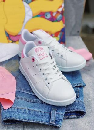 Женские кроссовки adidas stan smith pink and white#адидас