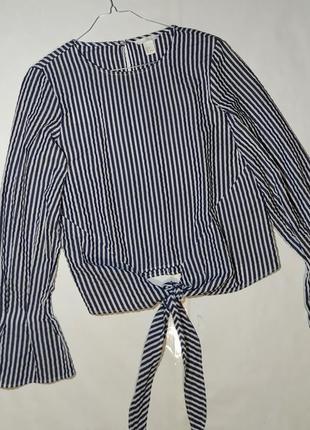 Красивая хлопковая блуза рубашка в полоску с широкими рукавами