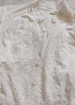 Нежная белая блузка, вышитая бисером, стильная блузка - дорогой бренд