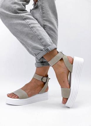 Босоножки сандали натуральная кожа замша