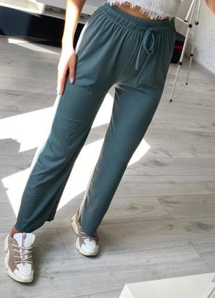 Трендовые штаны с шнурками брюки широкие свободные спортивные повседневные