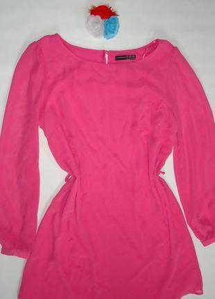 Стильное розовое платье прямого кроя
