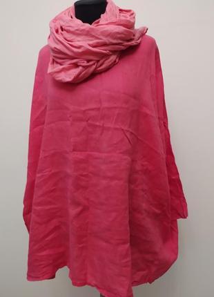 Яркая льняная блуза «оверсайз» известного итальянского бренда «mode in itali»