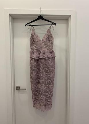 Нарядное кружевное летнее лавандовое платье asos, размер xs