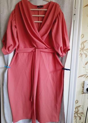 Женское вечернее летнее длинное терракотовое платье.22 размер .батал
