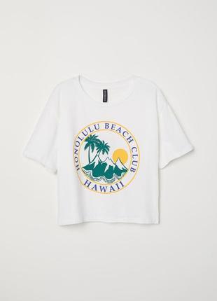 Широкий белый топ укороченная футболка от h&m хлопок