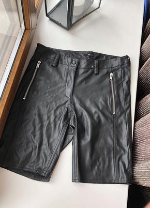 Новые кожаные шорты велосипедки h&m zara guess1 фото