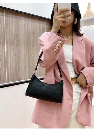 Сумочка мини багет сумка клатч с короткой ручкой чёрная молочная сирень9 фото
