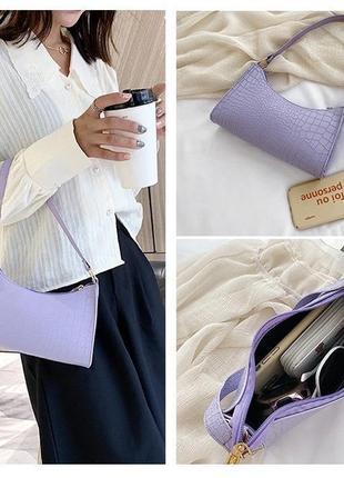 Сумочка мини багет сумка клатч с короткой ручкой чёрная молочная сирень4 фото