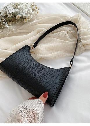 Сумочка мини багет сумка клатч с короткой ручкой чёрная молочная сирень6 фото