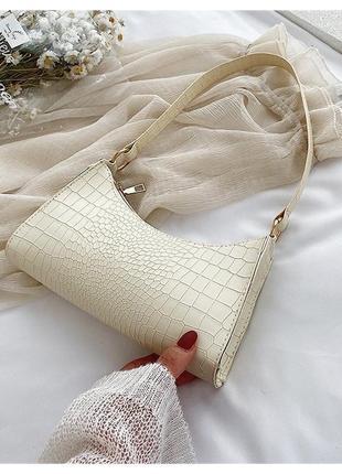 Сумочка мини багет сумка клатч с короткой ручкой чёрная молочная сирень2 фото