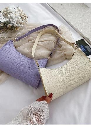 Сумочка мини багет сумка клатч с короткой ручкой чёрная молочная сирень1 фото