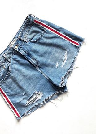 Голубые стильные шорты высокая посадка denim co  размер 14