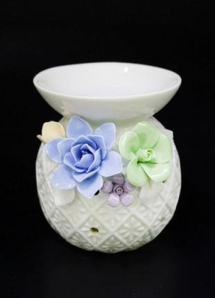 Аромалампа керамическая с цветами №1