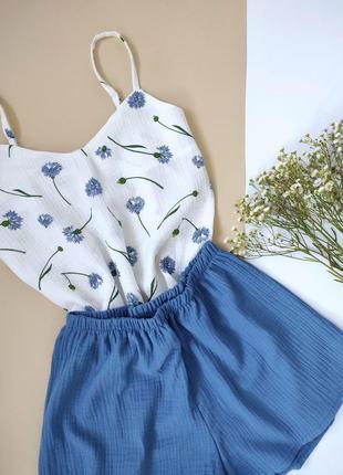 Нежная муслиновая пижама пижамка маечка и шортики васильковый голубой