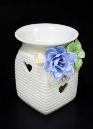 Аромалампа керамическая с цветами №2