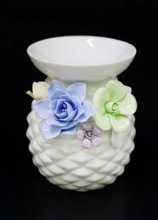 Аромалампа керамическая с цветами №3