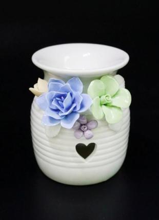 Аромалампа керамическая с цветами №4
