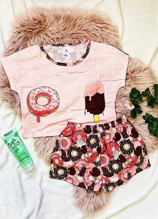 Трикотажная пижама укорочённая футболка и шорты пончик мороженое