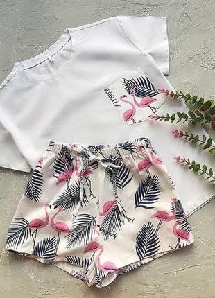 Нежная хлопковая пижама пижамка футболка и шорты на высокой посадке фламинго