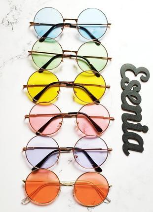 Круглые очки, цветные разноцветные яркие