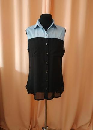Черная рубашка из шифона, джинсовая, шифоновая