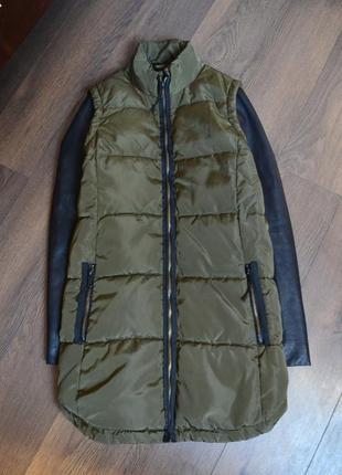 Куртка пальто парка zara хаки  с кожаными рукавами и спинкой вязаной