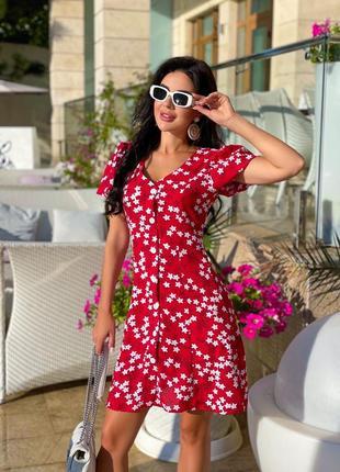 Платье летнее женское короткое мини красное черное голубое легкое