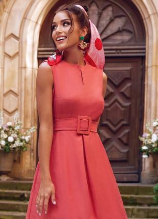 Разные цвета! милое летнее платье без рукава в деловом стиле с широким поясом миди до колен из хлопка